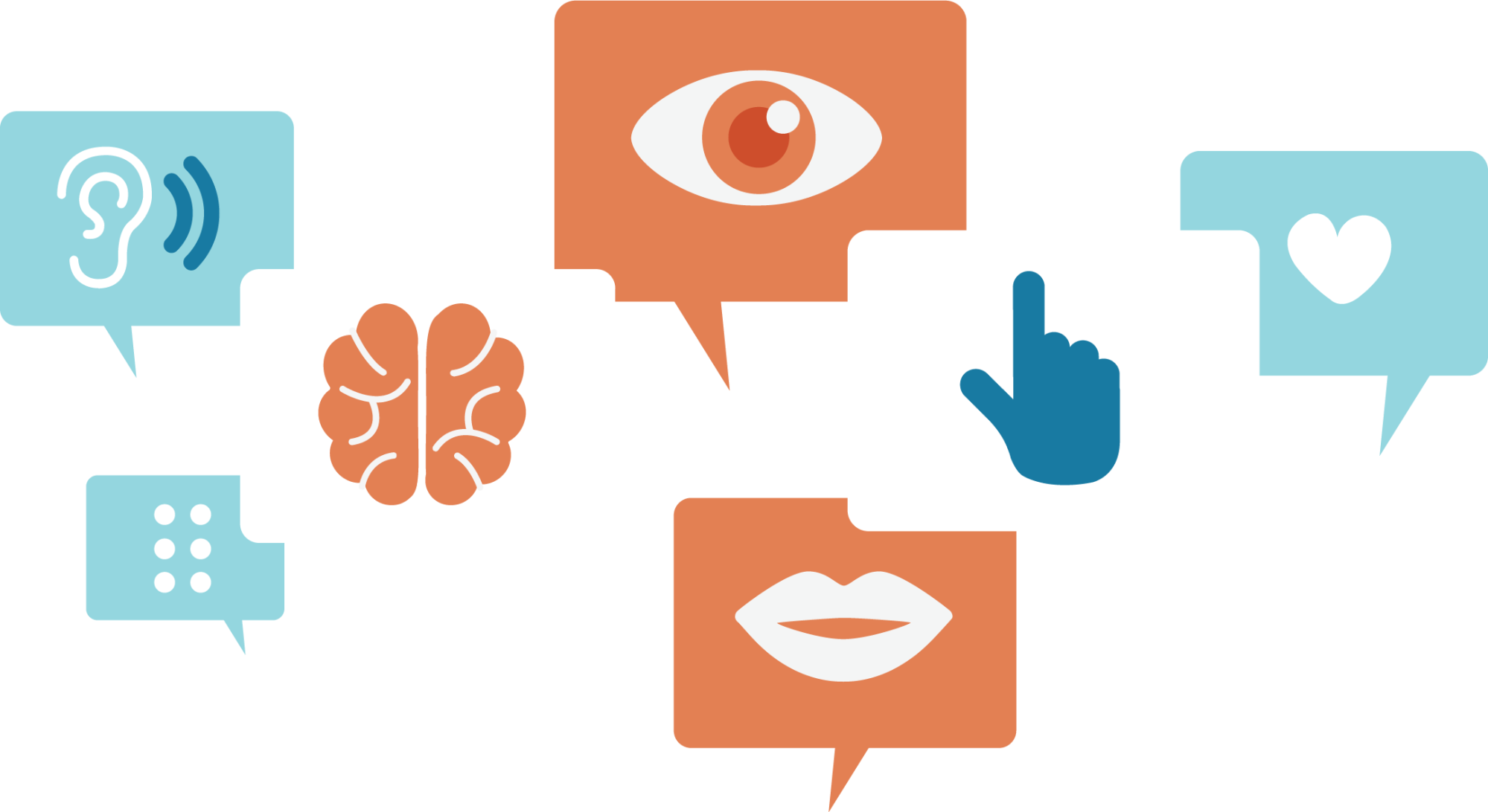 various access symbols nest in speech bubbles in a collage