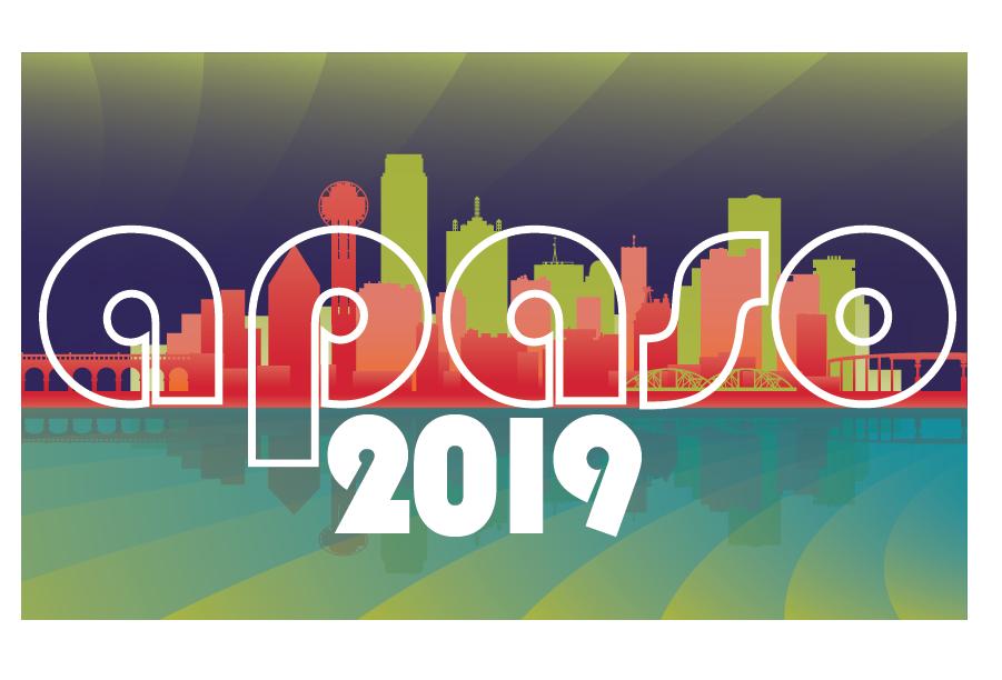 APASO 2019, colorful silhouette of the Dallas skyline