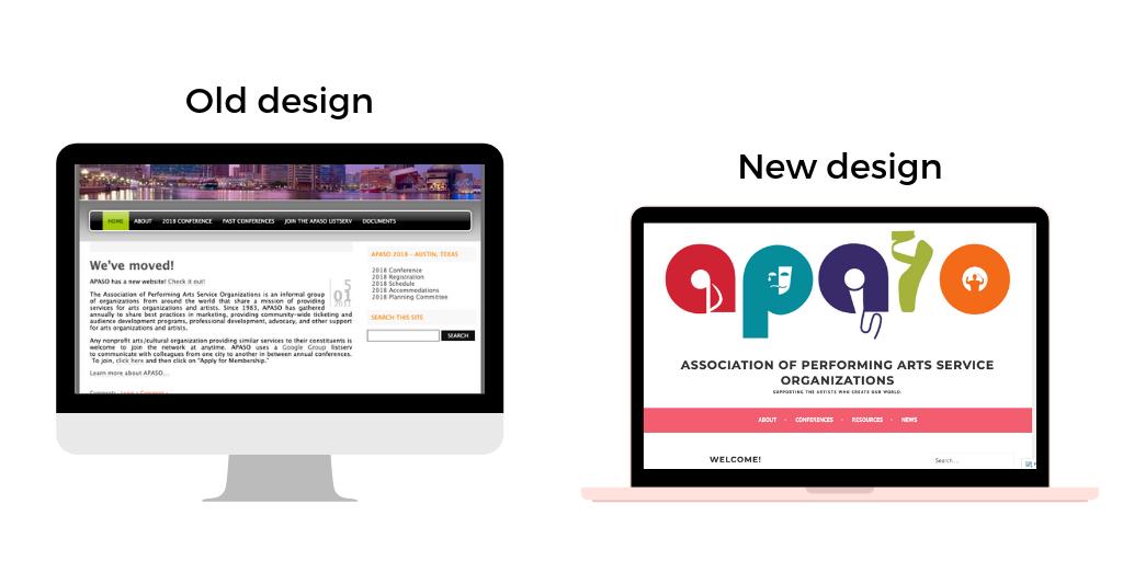 screenshot of old website next to screenshot of re-designed website.