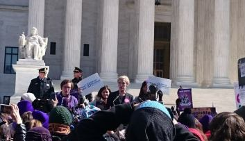 Cecile Richards, President of Planned Parenthood, speaks at a podium outside SCOTUS