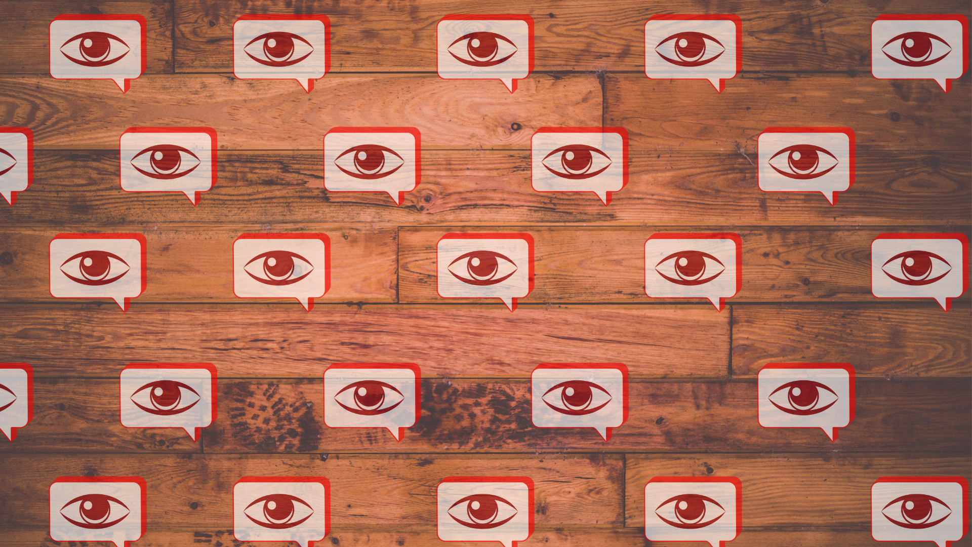 a grid of voice & vision digital logo on a wooden panel