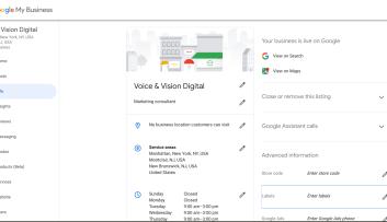 Screenshot of Voice & Vision Digital's Google My Business dashboard